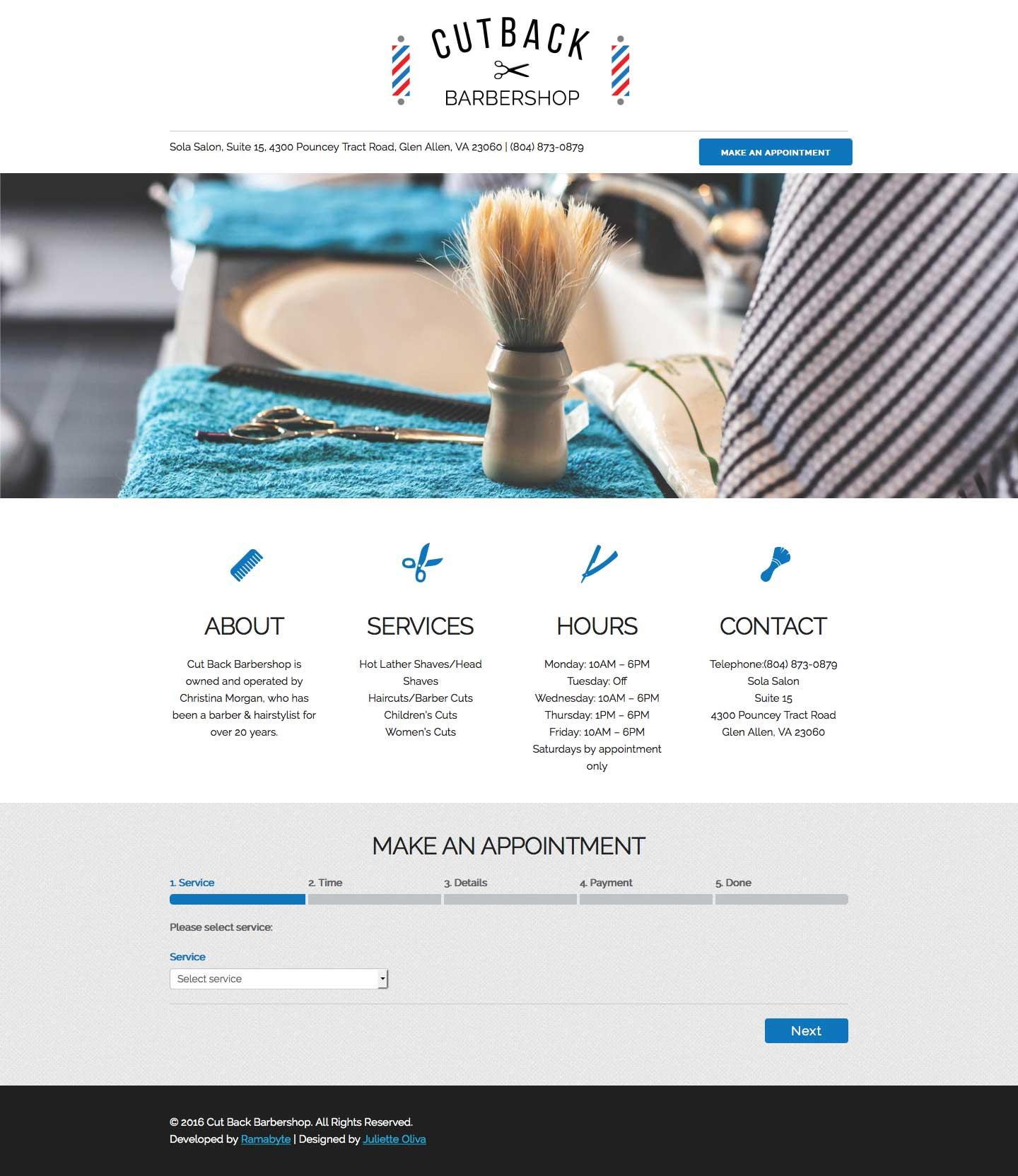Cut Back Barbershop Homepage