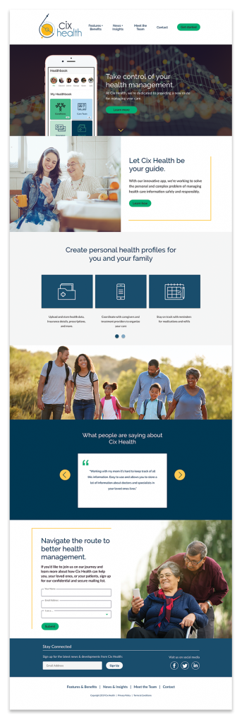 Cix Health Homepage design
