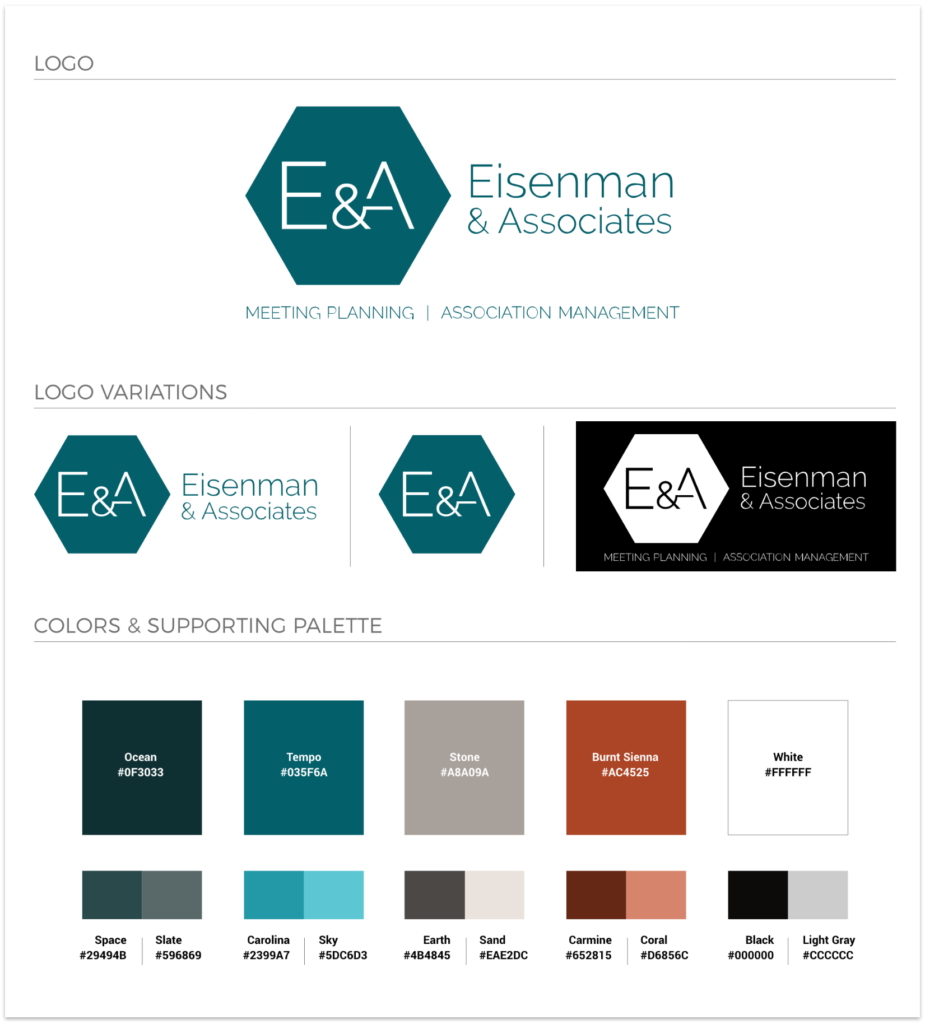 E&A brand colors and logo