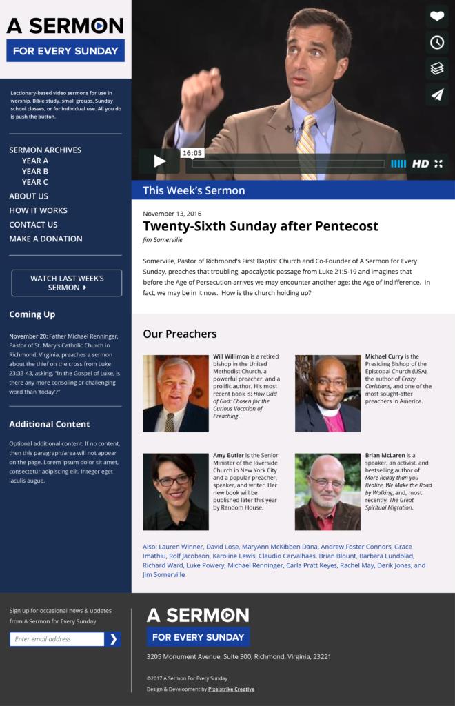 Sermon Website homepage