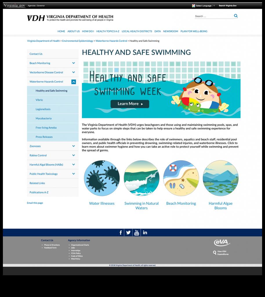 VA Dept of Health splash page design