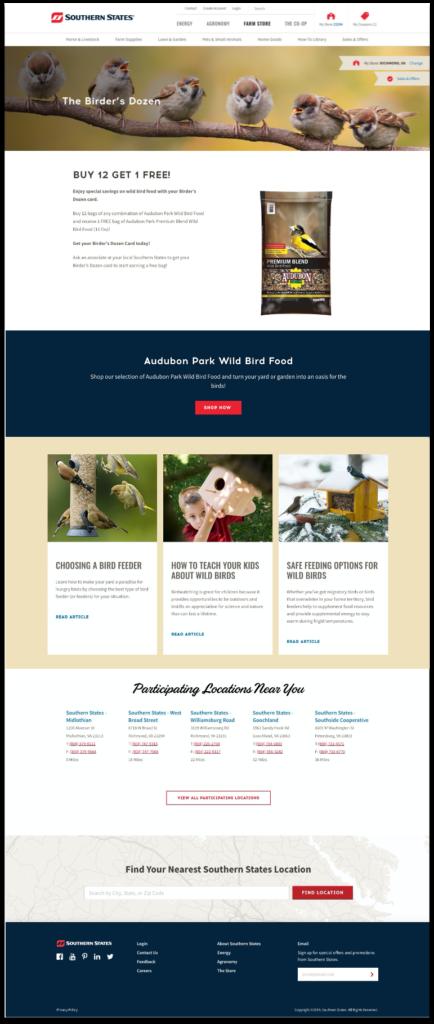 birders dozen landing page design