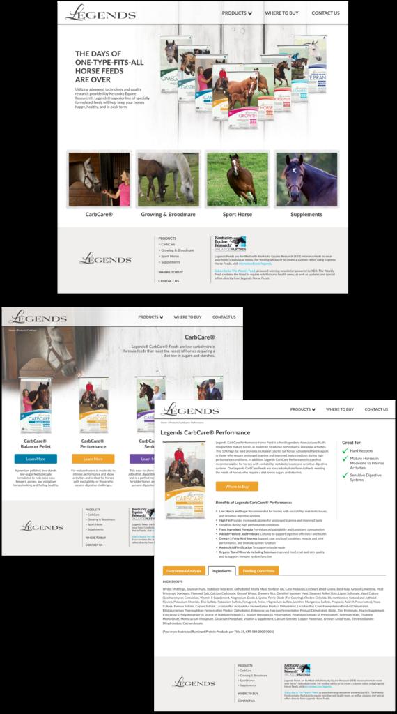 Legends Horse Feed website design