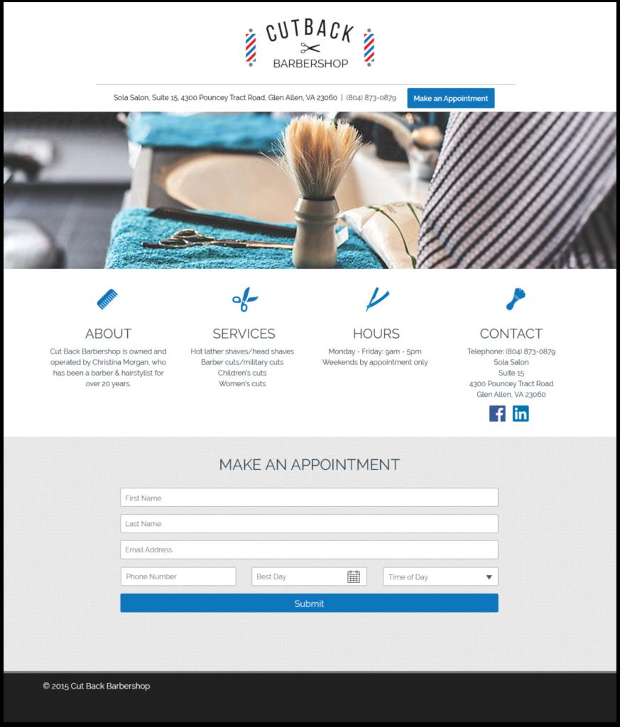 Cutback Homepage design