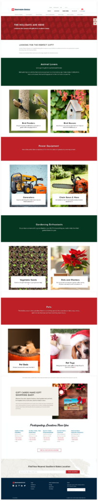 Southern States gift guide page design