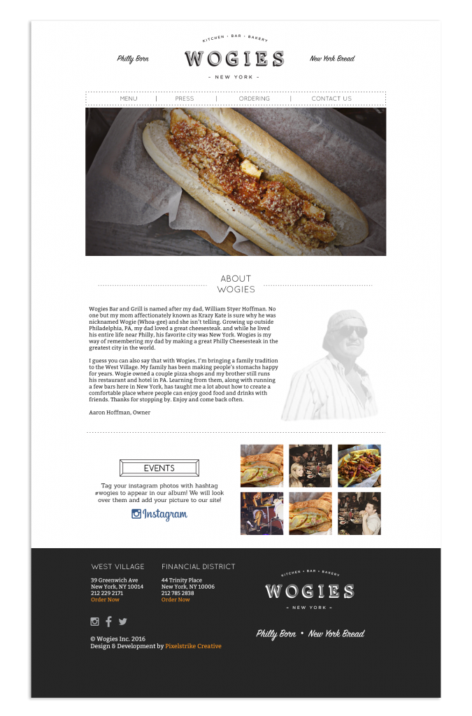 wogies homepage design