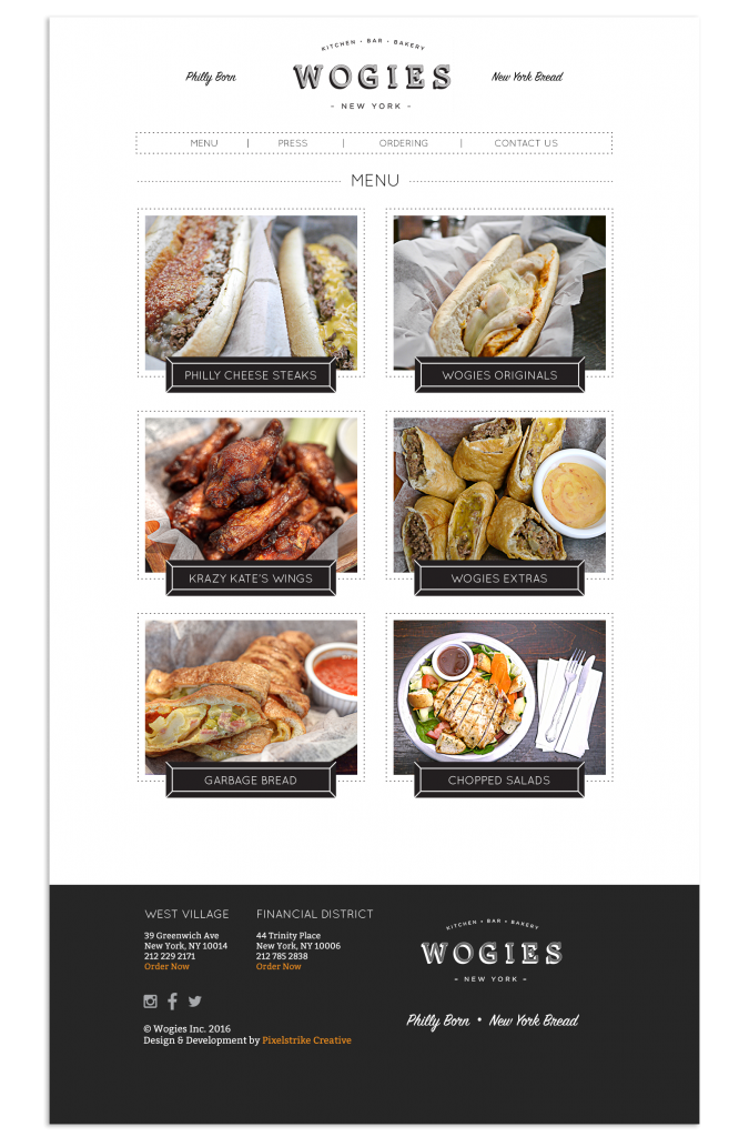 wogies menu page design