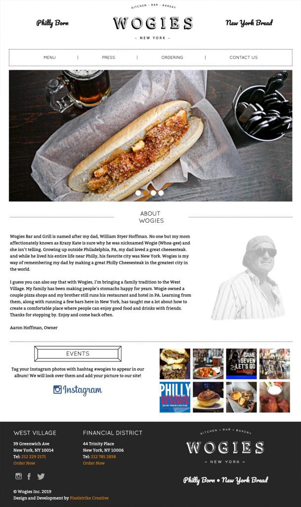 Wogies website homepage