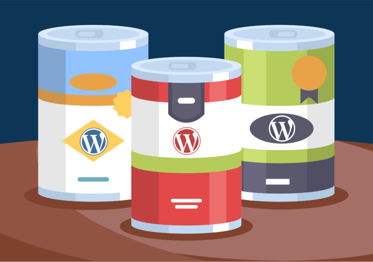 illustration of cans with the Wordpress logo on them